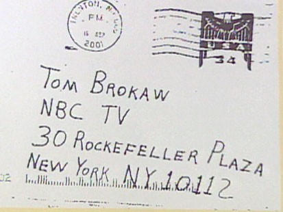 Antrax letter to Tom Brokaw