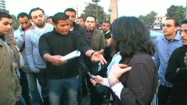 VIDEO: ABC News reporter Christiane Amanpour is confronted by protestors.
