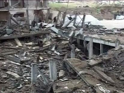 bombed building in Gaza Strip