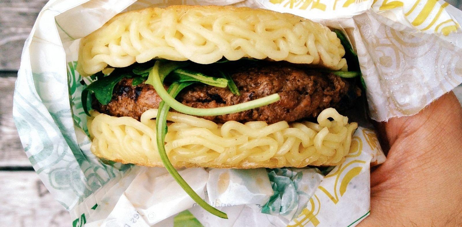 PHOTO: Keizo Shimamotos Ramen Burger is shown.