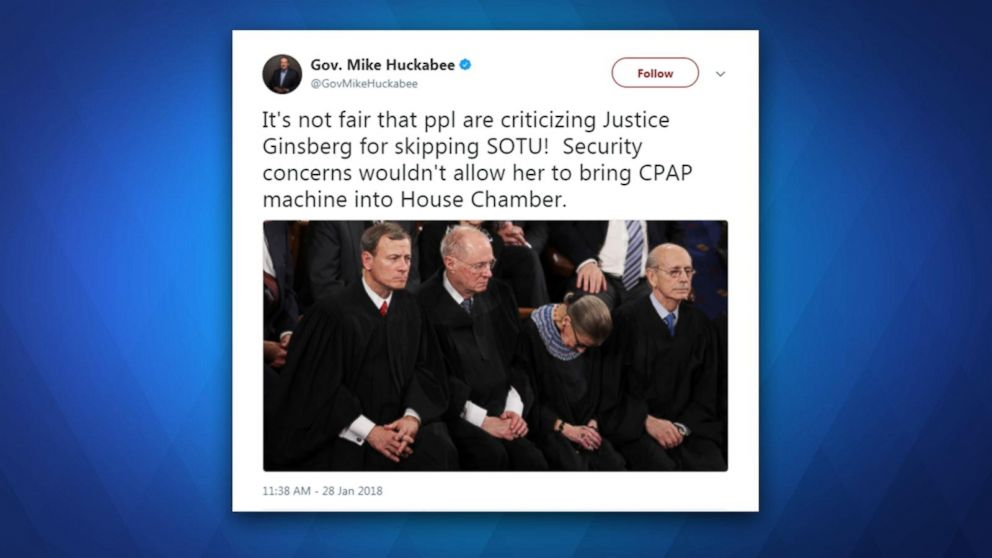 Mike Huckabee criticizes Justice Ruth Bader Ginsburg for skipping tonight's State of the Union address