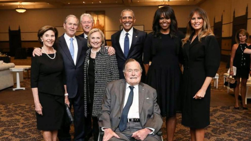 4 former presidents gather to honor Barbara Bush