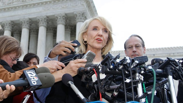 "PHOTO: In this Wednesday, April 25, 2012 file photo, Arizona Gov. Jan Brewer speaks to reporters after the Supreme Court questioned Arizona's ""show me your papers"" immigration law in front of the Supreme Court in Washington."