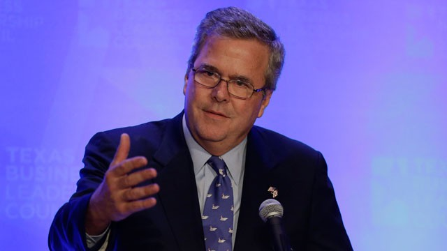 PHOTO:Former Florida Gov. Jeb Bush talks about education as he addresses the Texas Business Leadership Council, Tuesday, Feb. 26, 2013, in Austin, Texas.