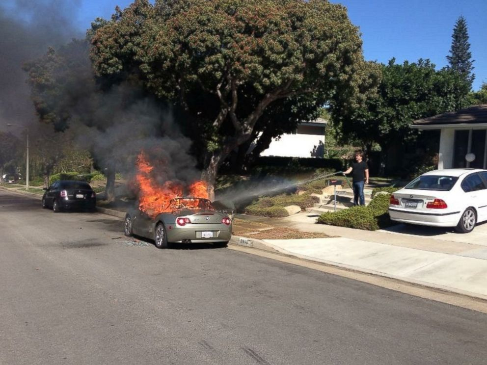 PHOTO: Brandie Macias told KABC-TV that her 2005 BMW Z4 spontaneously caught fire in the middle of the afternoon while it was parked on the side of the street.