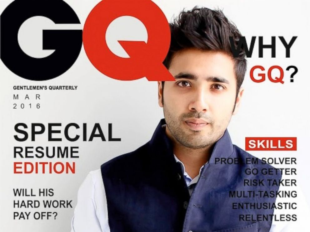 student stands out with resume modeled after gq magazine abc news. Black Bedroom Furniture Sets. Home Design Ideas