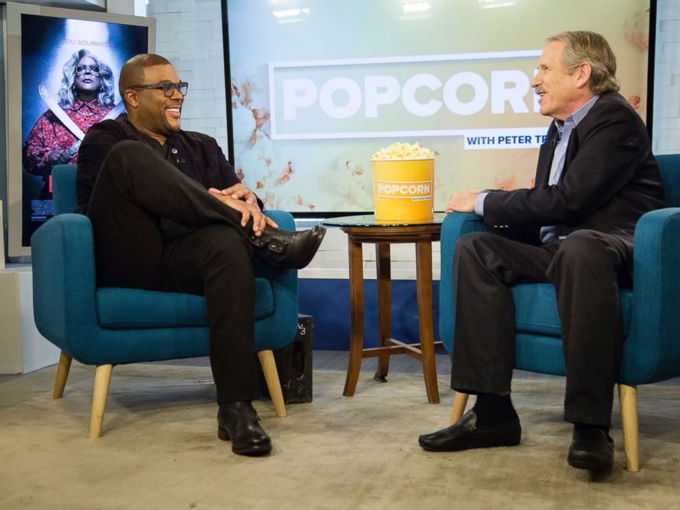 PHOTO: Peter Travers and Tyler Perry at the ABC News studios in New York, Oct. 9, 2017.