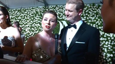 Nominees and presenters of the 71st Tony Awards walk the red carpet