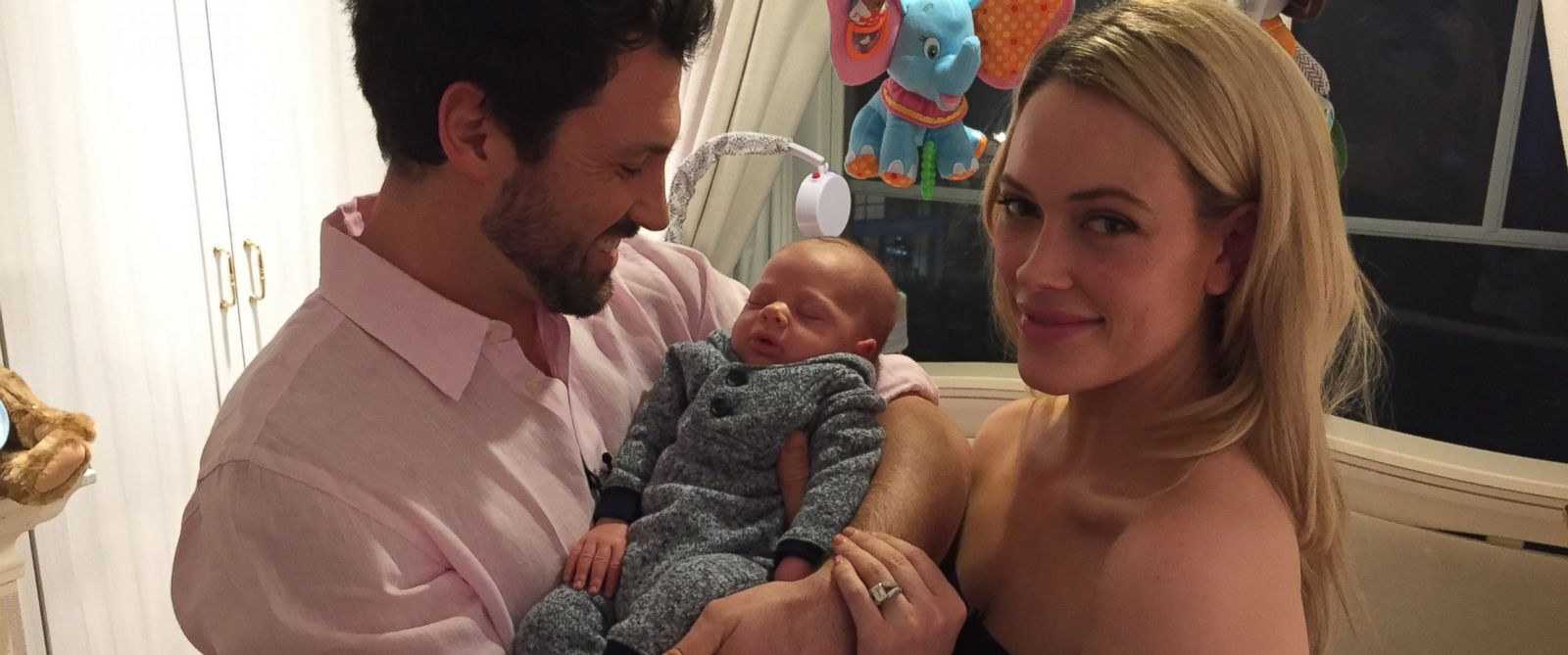 Maksim Chmerkovskiy and Peta Murgatryod with their first son Shai Aleksander