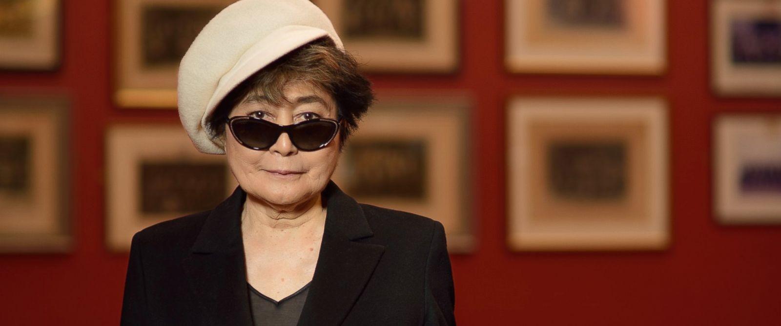 Yoko Ono poses for a p...