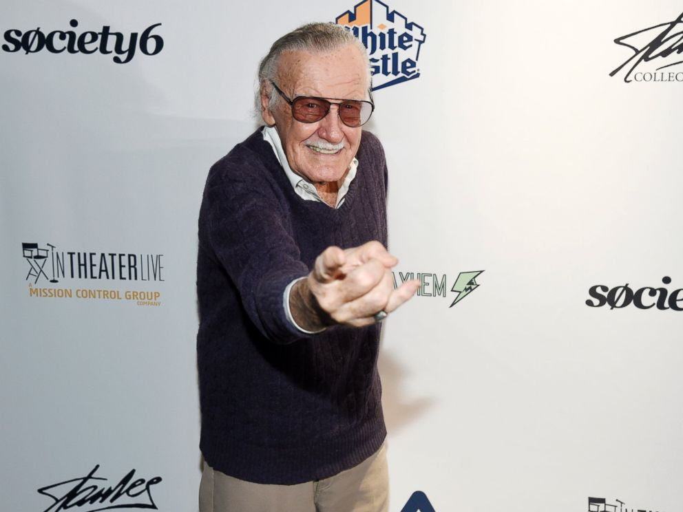 In this Aug. 22, 2017, file photo, comic book writer Stan Lee strikes a Spider-Man pose at the Extraordinary: Stan Lee tribute event at the Saban Theatre in Beverly Hills, Calif.