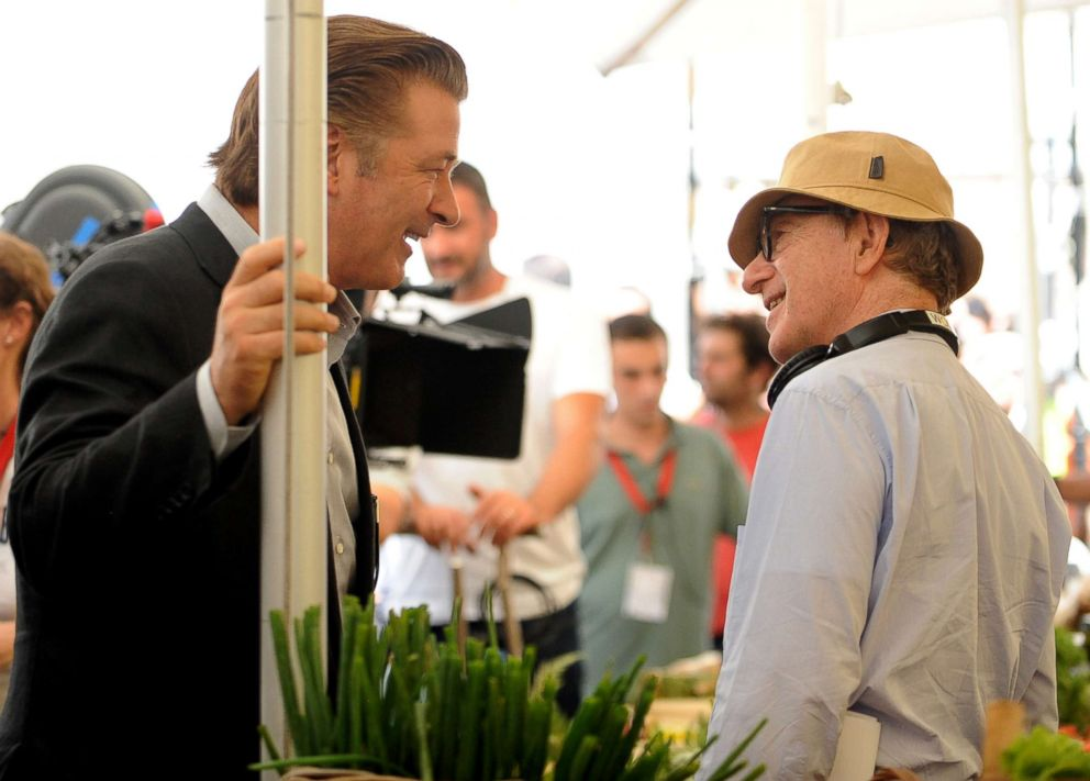 PHOTO: Alec Baldwin speaks with Woody Allen on the Bop Decameron set in Rome on July 28, 2011.
