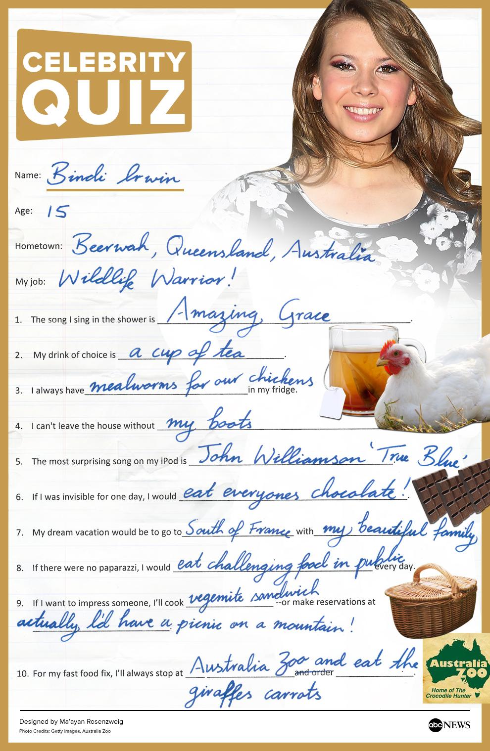 Bindi Irwin the ABC News Quiz (In Her Handwriting) - ABC News