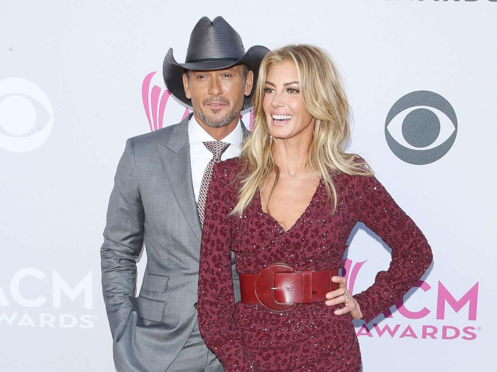 PHOTO: Tim McGraw and Faith Hill arrive at the 52nd Academy of Country Music Awards held at T-Mobile Arena, April 2, 2017, in Las Vegas.