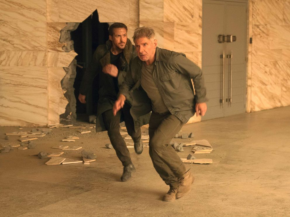 PHOTO: This image released by Warner Bros. Pictures shows Ryan Gosling, left, and Harrison Ford in a scene from Blade Runner 2049.