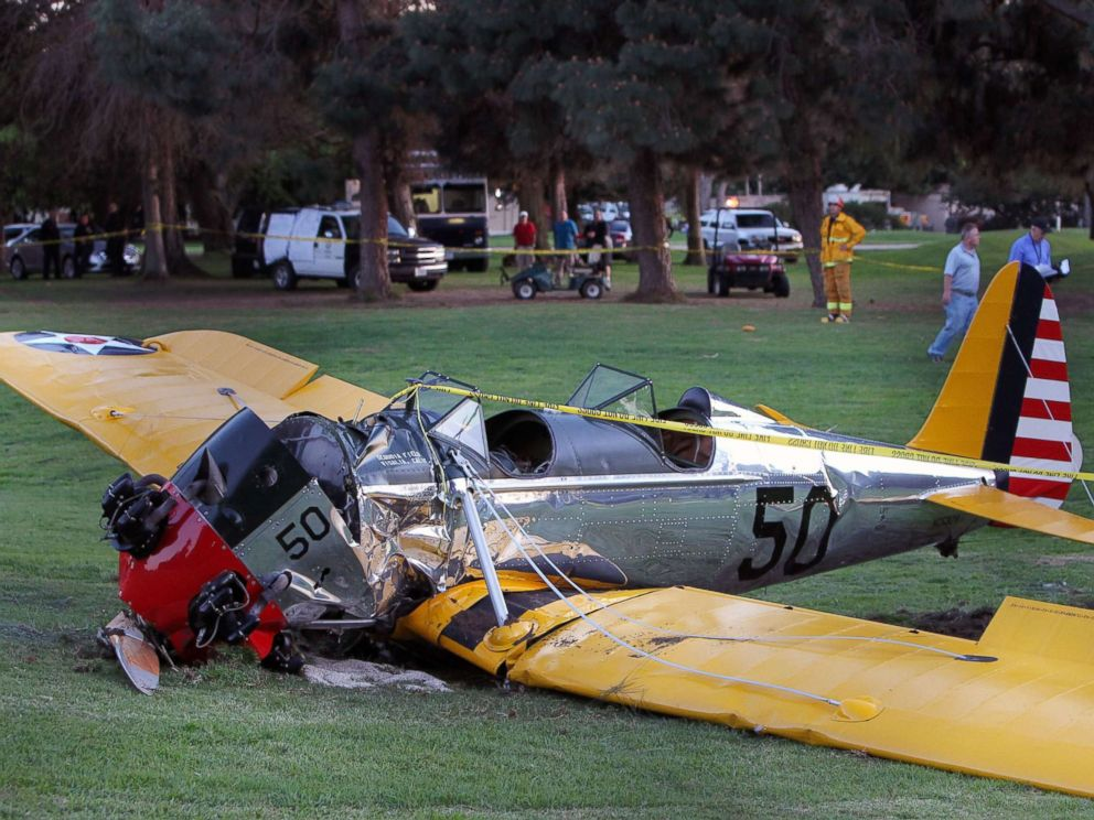 PHOTO: A general view at the Penmar Golf Course after a single-engine plane piloted by actor Harrison Ford crashed on March 5, 2015 in Venice, California.