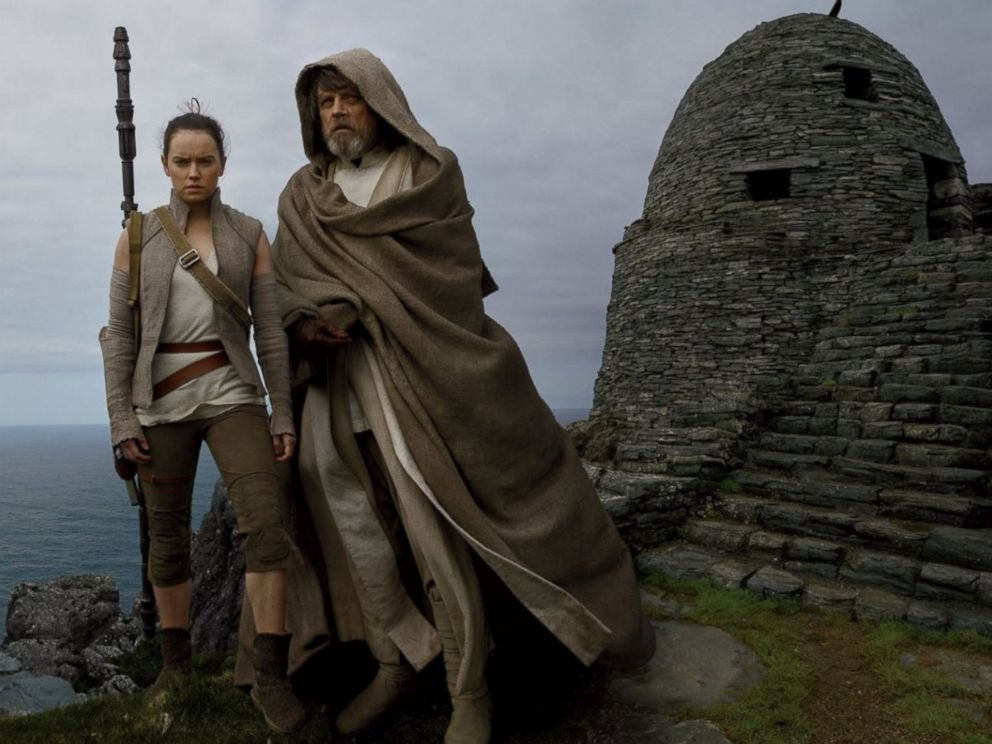 PHOTO: Mark Hamill and Daisy Ridley in a scene from Star Wars: The Last Jedi.