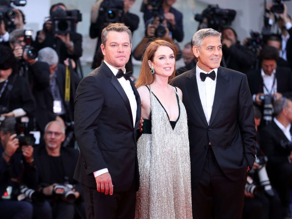 PHOTO: Matt Damon, Julianne Moore and George Clooney walk the red carpet ahead of the Suburbicon screening during the 74th Venice Film Festival at Sala Grande, Sept. 2, 2017 in Venice, Italy.