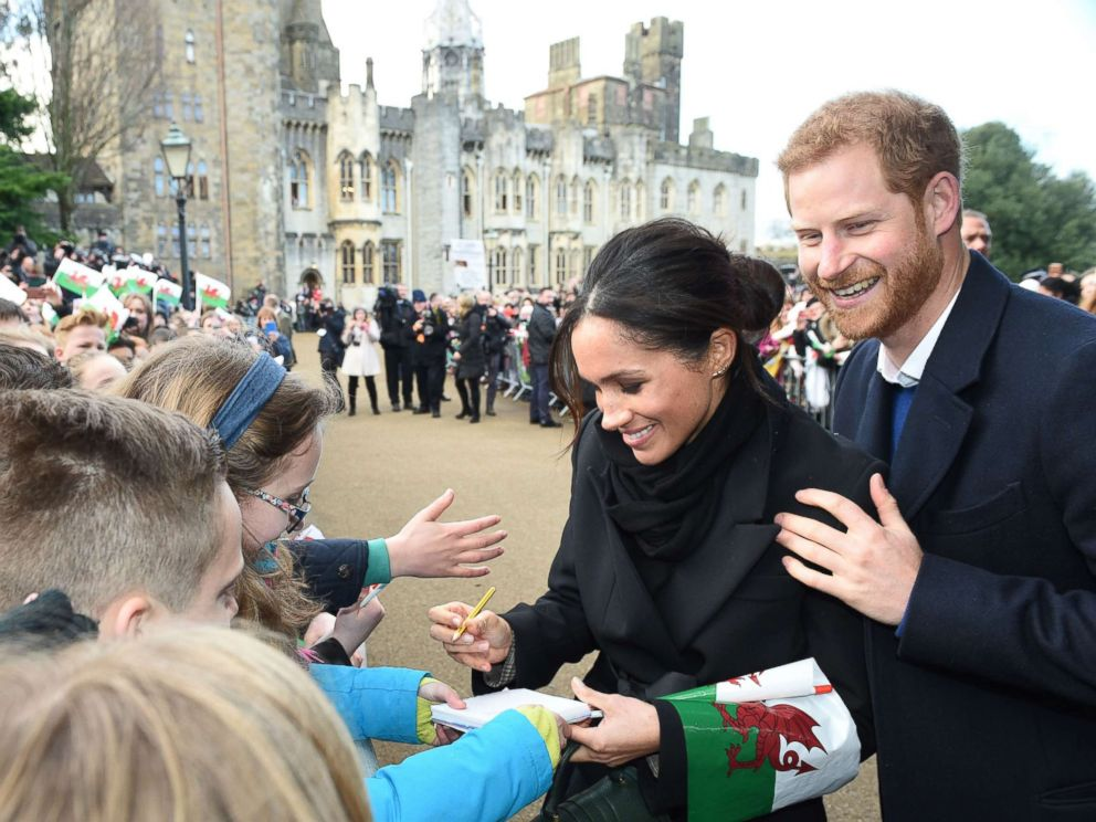 PHOTO: Prince Harry and Meghan Markle visit Cardiff Castle, an iconic building with a history dating back 2,000 years, Jan. 18, 2018, in Cardiff, Wales.