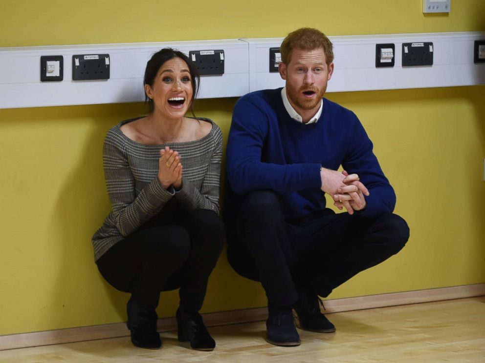 PHOTO: Prince Harry and Meghan Markle a street dance class during their visit to Star Hub, a community and leisure center in the Tremorfa area of the city, Cardiff, Wales, Jan. 18 2018.