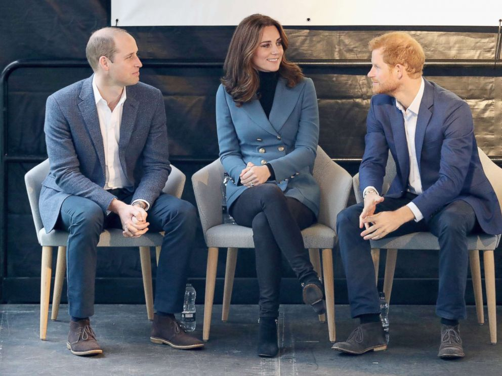 PHOTO: Prince William, Duke of Cambridge, Catherine, Duchess of Cambridge and Prince Harry attend the Coach Core graduation ceremony for more than 150 Coach Core apprentices at The London Stadium, Oct. 18, 2017, in London.