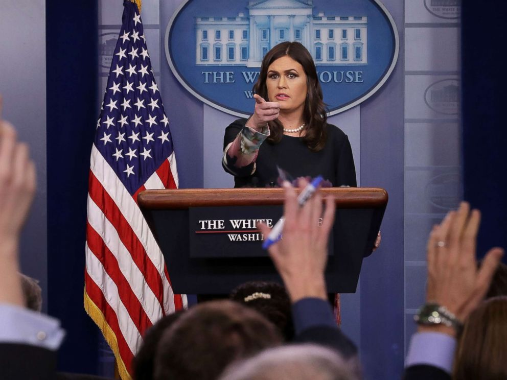 PHOTO: White House Press Secretary Sarah Huckabee Sanders takes reporters questions during a news conference in the Brady Press Briefing Room at the White House, Nov. 17, 2017, in Washington.