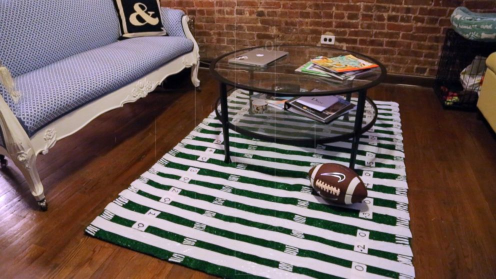 Diy Football Field Rug For Super Bowl Sunday Video Abc News
