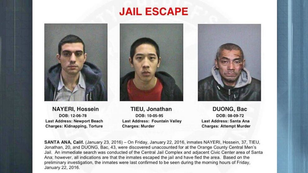 California Prisoners Escape Orange County Jail Video Abc