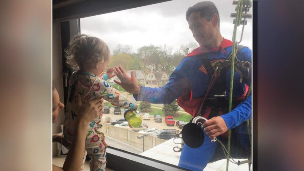 Superman Visits Tiny Cancer Patient At Hospital Window