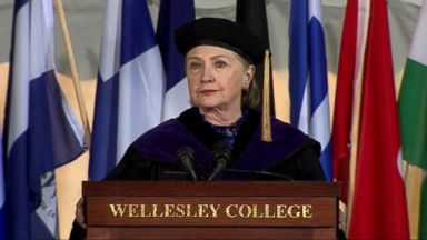 Hillary Clinton delivers the commencement speech at her alma mater Wellesley College