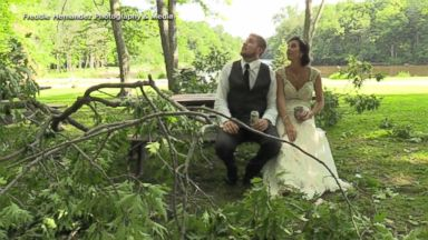Couple describes terror of falling branch at wedding