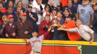 Controversial fan interference gives Red Sox key win