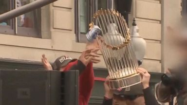 Red Sox fans damage World Series trophy