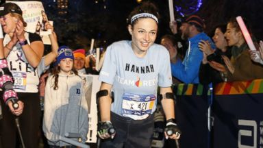 Paralyzed woman completes NYC Marathon entirely on crutches