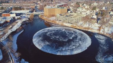 Spinning circle of ice leaves Maine residents perplexed