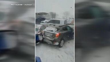 Snowstorm causes chain reaction crash