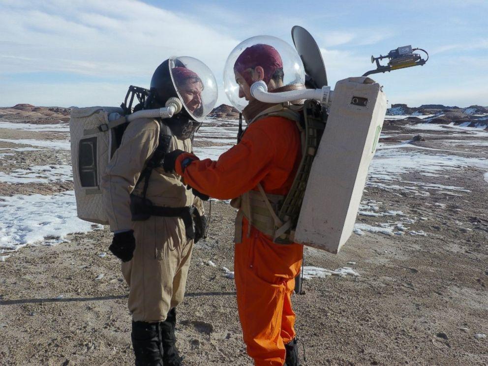 PHOTO: Scientists simulate space walk in the desert near Hanksville, Utah.