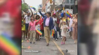 Canadian PM Trudeau marches in Toronto Pride