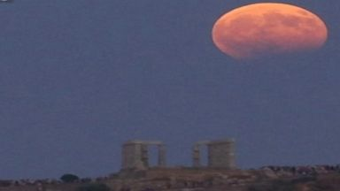 Partial lunar eclipse spotted over Temple of Poseidon
