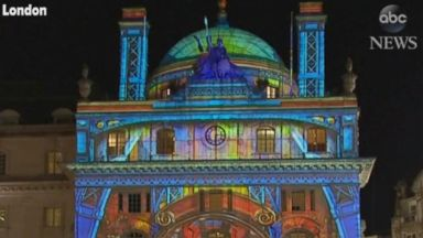 Streets of London illuminated by outdoor lights festival