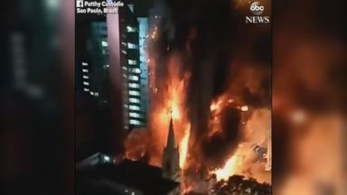 Massive high-rise fire causes building to collapse in Brazil