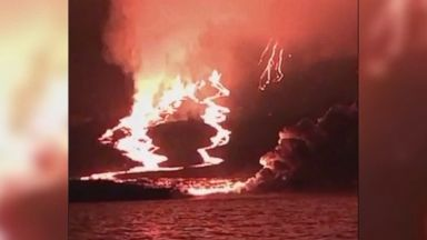 Lava flow at Galapagos Islands lights up the night
