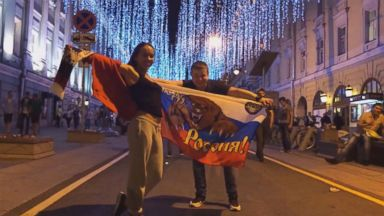 Russia throws wild street party following Sunday's World Cup victory against Spain