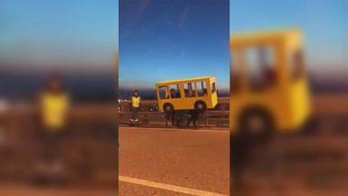 Russians caught crossing bridge disguised as bus