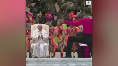 Pope Francis gets involved in circus performance at Vatican