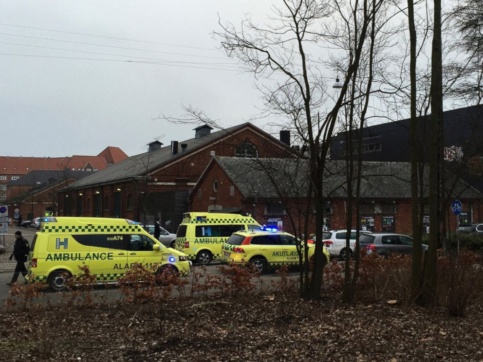 PHOTO: Emergency services gather outside a venue after shots were fired where an event titled Art, blasphemy and the freedom of expression was being held in Copenhagen, Saturday, Feb. 14, 2015.