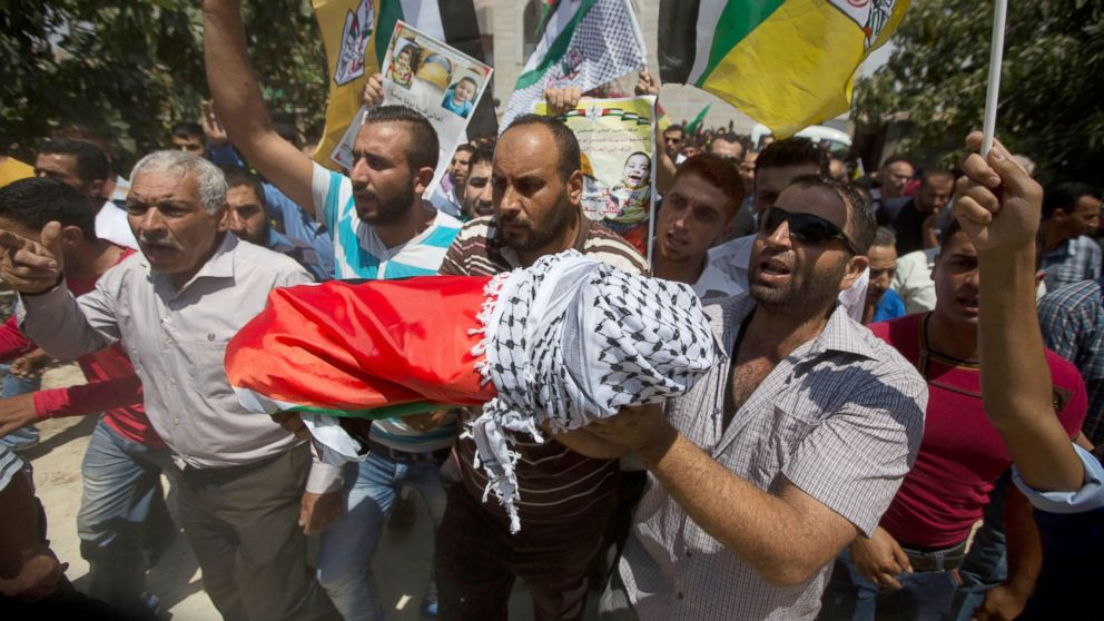 PHOTO: Palestinians carry the body of one-and-a-half year old boy, Ali Dawabsheh, during his funeral in Duma village near the West Bank city of Nablus, July 31, 2015.