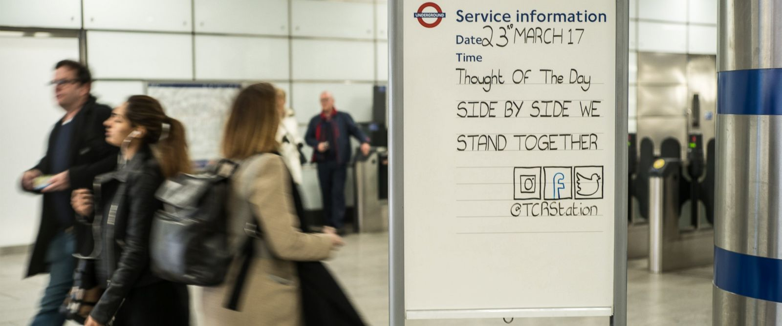 Inspiring messages appear at London Underground subway