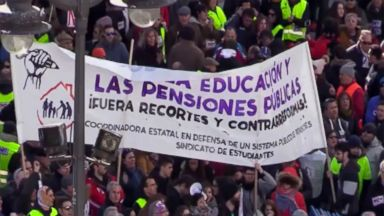 Thousands of Spaniards protest for better pensions in Madrid