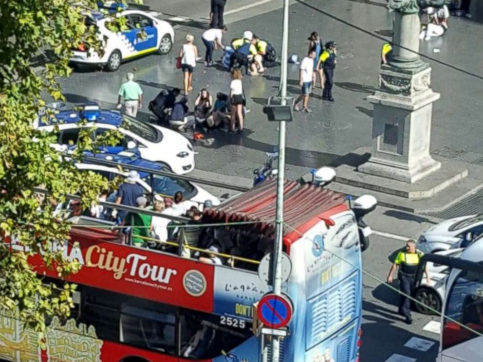 PHOTO: Spanish authorities confirm people are injured after a truck reportedly hit people on a busy Barcelona street, Aug. 17. 2017.